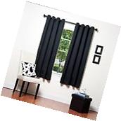 1 BLACK SOLID PANEL THERMAL LINED BLACKOUT GROMMET WINDOW