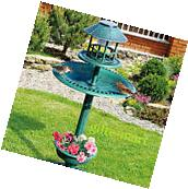 4 in 1 SOLAR LED light plastic bird bath Bird feeder plant