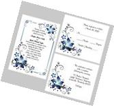 100 Personalized Custom Blue Floral Border Wedding