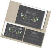 100 Personalized Floral Wedding Invitations Set ANY COLOR