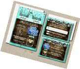 100 Wedding invitations Suite Blue Hydrangea Rustic Style