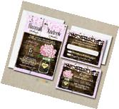 100 Wedding invitations Suite Pink Hydrangea Rustic Style