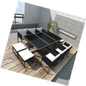 10Seat Poly Rattan Dining Table Chairs Stools Set Garden