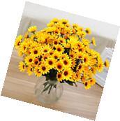 14 Head Fake Sunflower Artificial Silk Flower Bouquet Home
