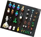 16 generic minifigures tools accessories lot +5 Lego Minecraft building Blocks