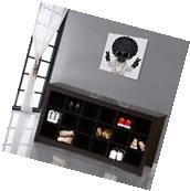 Espresso Storage 18-Cubbie Shoe Bench Wood Hallway Entryway Mudroom Storage Rack