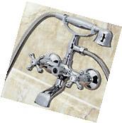 2 handles Chrome Clawfoot Bath Tub Bathroom Faucet Hand Held