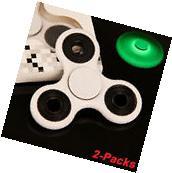 2 Packs Fidget Spinner Glow in the Dark Hand Finger Toy Tri