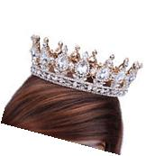 2'' Prom King Queen Gold Diamante Clear Crystal Tiara Crown