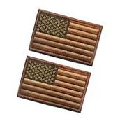 2 Tactical USA Flag Patch Subdued Tan Velcro American Flag