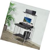 2 Tier Computer Desk with Printer Shelf Stand Home Office