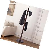 2 -Tier Wood Hat Coat Rack Hanger Tree Stand Hallway Entry