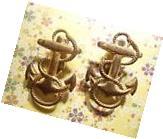 2 Vintage Brass U.S. Anchor Pins