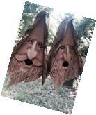 2 Wood Spirit rustic Hand Carved Cedar Bird House Birdhouses