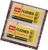 20 Feather New Hi-Stainless Platinum Coated Razor Blades -