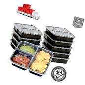 20 Meal Prep Containers Food Storage Plastic 2 Compartment