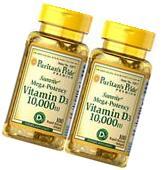 2 X 100 = 200 Softgels Vitamin D3 10,000IU Puritan's Pride