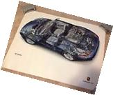 2004 Porsche 911 996 Carrera 4S Cabriolet Cutaway Poster