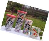 NEW! STARBUCKS 2017 spring floral COLD CUP TUMBLER TRAVEL