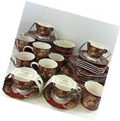 NEW!! 32pc 222 Fifth Gabrielle Red Porcelain Complete