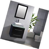 """24"""" Bathroom Ceramic Porcelain Sink Wall Mount Cabinet"""