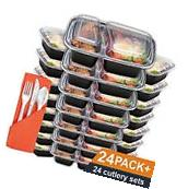 24 Meal Prep Containers Plastic Food Storage Microwavable