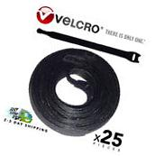 25 VELCRO Brand Ties Cable Cord Organizer Wraps Reusable Die
