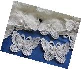 "2y Butterfly 3"" Pearl Lace Edge Trim Pearl Wedding Applique"