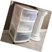 Sterilite 3 Drawer Plastic Storage Organizer Box Cart White