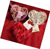 3 Heart Shaped Containers filled w/ Scented Rose Soap Petals