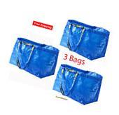 IKEA 3 Large Tote Bags Frakta Blue Reusable Shopping Laundry