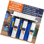 """3-Stage Big Blue 20"""" Whole House System 1"""" Port+Carbon,"""