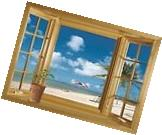 3D Beach Window View Removable Vinyl Decal Wall Sticker Art