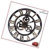 3D Copper Wall Clock Antique Gears Vintage Retro Watch