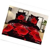3D Duvet Cover Pillowcase Quilt Bedding Set  Queen Size Red Rose 4pcs