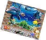 3D Ocean Dolphin Removable Vinyl Decal Wall Sticker Art