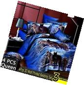 4Pcs 3D Wolf Printed Duvet / Quilt Cover Pillow Case Bedding