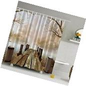 3D Wooden Bridge Bathroom Shower Curtain Home Decor 71''