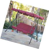 Porch Swing Soft Cushioned Sunlight Protection 3 Seat