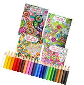 4 Coloring Books + BONUS COLORED PENCILS Floral Design for