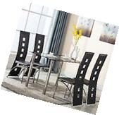 5 Piece 4 Glass Dining Table Leather Chairs Set Kitchen Room