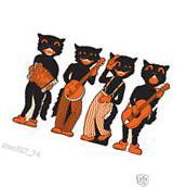 4 HALLOWEEN Party Decoration SCAT CAT BAND Vintage Beistle