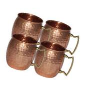 4 Hammered Moscow Mule Mug Drinking Cup 100% Pure Solid