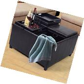 4-Tray-Top Ottoman Storage Table PU Leather Bench Coffee