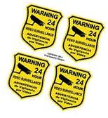 4 Warning Home Defense Security Decal Sign Stickers Video