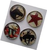 4 WESTERN COUNTRY COWBOY Glass Magnets Kitchen Refrigerator
