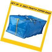 NEW IKEA 5 X  LARGE BLUE FRAKTA ZIPPERED TOTE STORAGE