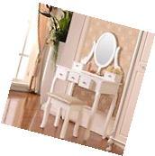 5 Drawer & Mirror Makeup Vanity Table Set w/Stool Jewelry