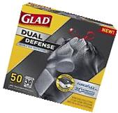 50 Glad ForceFlex Extra Strong Drawstring Black Trash