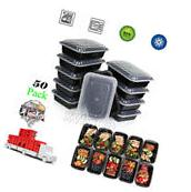 50 Meal Prep Containers 1 Compartment Plastic Food Storage